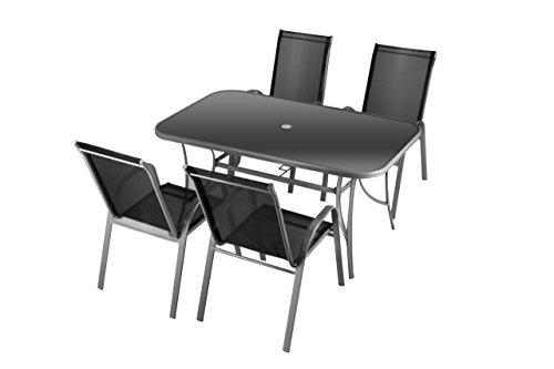 Nexos 5-Teiliges Gartenmöbel-Set – Gartengarnitur Sitzgruppe Sitzgarnitur aus Stapelstühlen &...