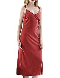 Mujer Vestido De Dormir Verano Sin Tirantes Sling Sleeveless Elegante Camisón Vestido Joven Albornoz Fashion Color