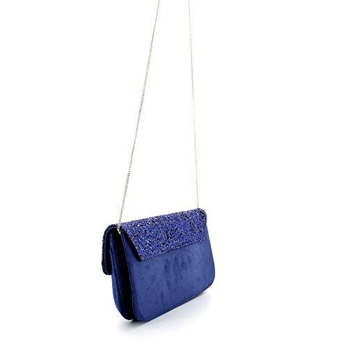 Pochette borsa donna / woman SARA LOPEZ con decorazioni a rilievo bo16312 Blu