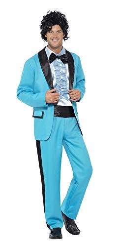 """Smiffy's Smiffys-43194L Traje del Rey del Baile de los 80, con Chaqueta, Pantalones y Falsa Camisa Esmoquín, Color Azul, L - Tamaño 42""""-44"""" 43194L"""