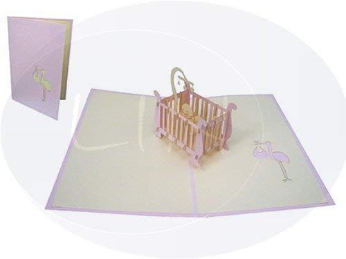 Lin de lit Pop Up 3D Cartes de vœux Cartes de vœux Baby Cartes Enfant Cartes Naissance Fille.