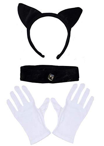(DangerousFX Schwarz samt Cat Ears Kragen Bell Halsband Weiße Handschuhe Halloween Kostüm)