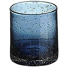 Artland Iris Juego de 2 Vasos de Cristal Doble Retro Azul Pizarra