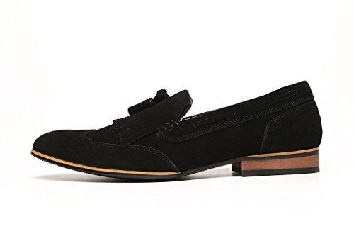 Borla Couro Lazer Tamanho Designer Uk Mens De Sapatos De Wingtip Chinelo Camurça Preto De pHHFq