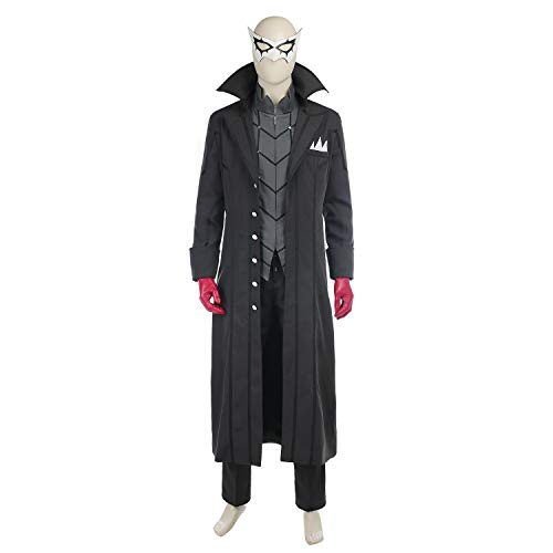 Custom Kostüm Jazz - QWEASZER Halloween Anime Protagonist Persona Cosplay Herren Black Trench Jacket, Hemden, Hosen, Augenmasken, Handschuhe Kostümfest Kostüm Requisiten Deluxe,Black-Custom Size