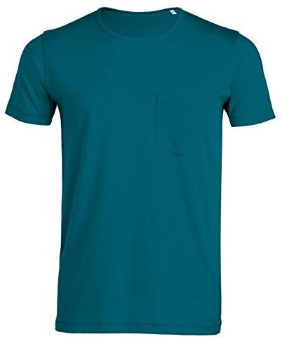 Herren Bio T-Shirt Aus Bio-Baumwolle mit Offenen Schnittkanten und Brusttasche, Leichtes, Modisches Sommer-T-Shirt,Herren Bio Tshirt mit Tasche, Herren Bio Shirt mit Pocket, Einführungspreis Ocean Depth