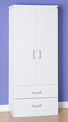 Charles 2 Door 2 Drawer Wardrobe (White Oak Effect Veneer with Walnut Trim)