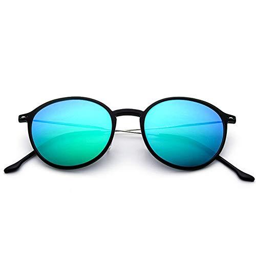 WULE-Sunglasses Unisex TR90 Runde Retro Sonnenbrille Männer Frauen Vintage Steampunk Polarisierte Sonnenbrille (Farbe : Green Frame Green Film, Größe : Free)