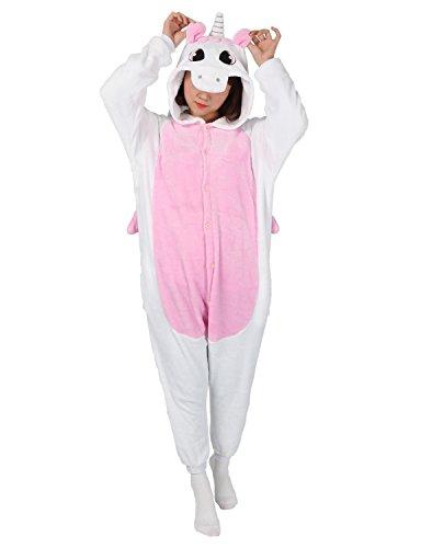 Très Chic Mailanda Karneval Halloween Pyjamas Schlafanzug mit Kapuze Erwachsene Cosplay Kostüm, Pink Einhorn, XL