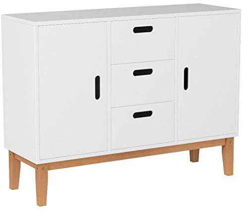 HOMECHO Sideboard weiß Küchenschrank Buffetschrank mit 2 Türen und 3 Schubkasten Anrichte Beistellschrank Kommode Schrank 100x75,5x33cm(B x H x T)