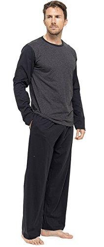 Herren-Schlafanzüge, aus Baumwoll-Mischgewebe, kurze oder lange Beine und Ärmel Gr. Medium, Black - Long Sleeved -