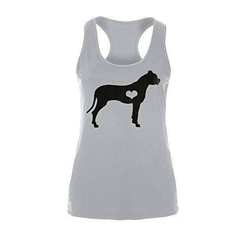 COCODE Damen Bedruckte Dog Love äRmellose äRmellose Weste äRmelloses Top Womens Fashion Beach Print LäSsige TräGershirt Bluse ÄRmelloses O-Neck T-Shirt (Steelers Frau Jersey)
