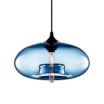 40w modern glass pendant light in blue bubble design. Black Bedroom Furniture Sets. Home Design Ideas