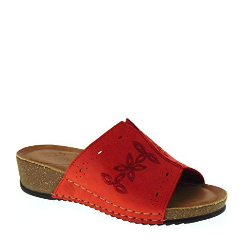 Fly flot 23d25lg ciabatte donna estive in pelle rossa made in italy (41 eu)