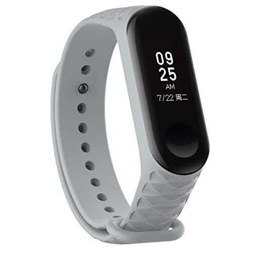 Bestow XiaoMi Mi Band 3 Patr¨®n TPU Smart Reloj de Pulsera Correa de Reloj Reloj Inteligente Electronics Gadgets Reloj de Pulsera (gris01)