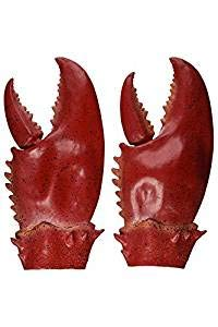 JIUZHI 1 Paar Hummer Krabbe Krallen Hand Handschuhe, Neuheit Tierspielzeug, Spielzeug Halloween Party Cosplay Gauntlet Cartoon Krabben Hummer Kostüm Einzigartige, Rot