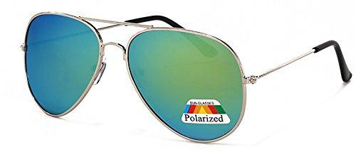 Jungen Polarized Sonnenbrille Fliegerbrille Kids in vielen Farbkombinationen Klassische Pilotenbrille Unisex Sonnenbrille (Light Green Polarized Mirror) (Green Pilot Light)