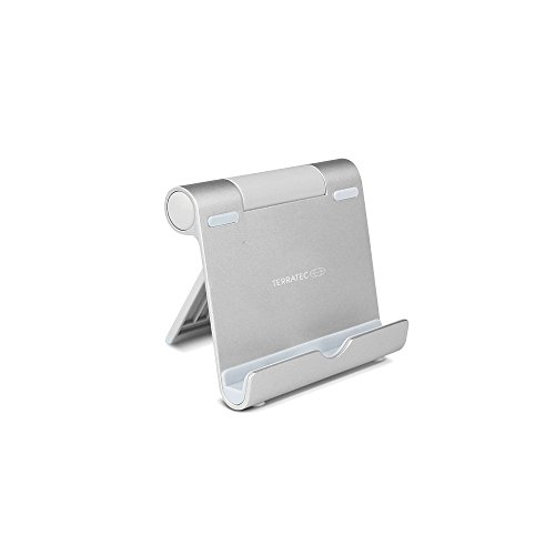 TERRATEC iTab S Silber, Smartphone & Tablet Multiwinkel-Ständer aus Aluminium, Für iPhone, iPad, Samsung Galaxy, Google Nexus und weitere, einstellbarer Betrachtungswinkel