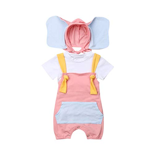 Kelry Baby Jungen Kindert Hemd Spielanzug Overall Karikatur Elefant Hut Kostüm Ausstattungen (Kuschelige Elefanten Baby Kostüm)