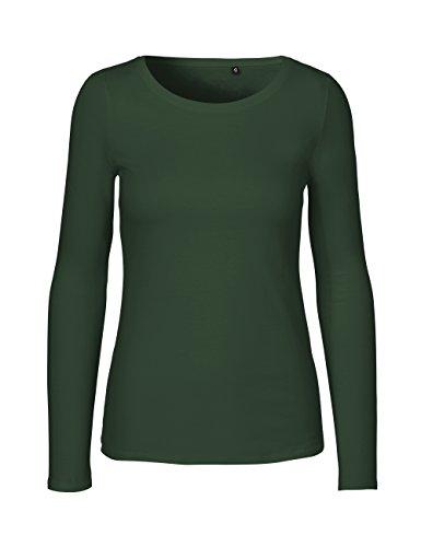 Green Cat- Damen Langarmshirt, 100% Bio-Baumwolle. Fairtrade, Oeko-Tex und Ecolabel Zertifiziert, Textilfarbe: grün, Gr.: M
