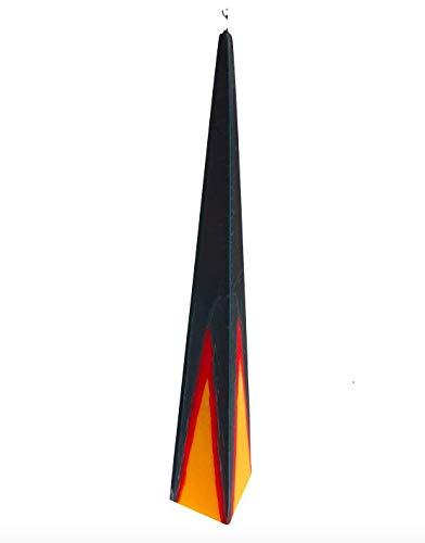 Klaner Pyramide Kerze Wachsobjekt Pharao klein, Silbergrau-rot-gelb, Höhe 35 cm