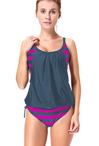 AFUT Damen Retro Striped Spleißen Gefüttert Double up Tankini Top Casual Sport Zweiteilig Neckholder Badeanzug Straps Sexy Bikini Set Verband Sportlich Beachwear mit Bikinislips -