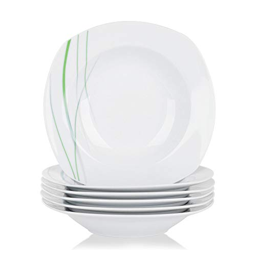 VEWEET, Porzellan Suppenteller \'Aviva\' 6-teilig Set   Füllmenge 180 ml, Durchmesser 21,5 cm   Ergänzung zum Tafelservice \'Aviva\'   Tiefteller für 6 Personen