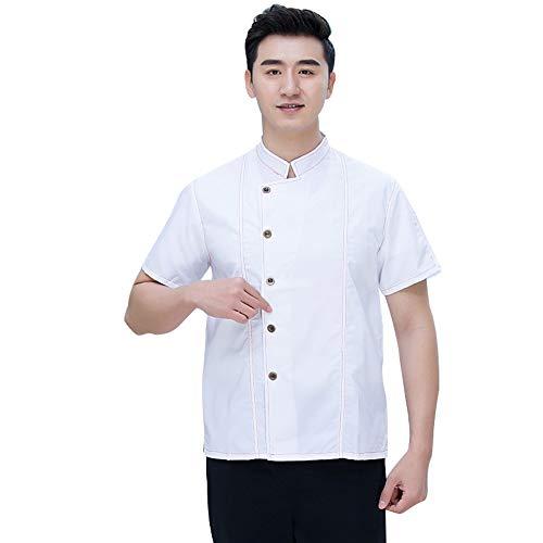Bäckerei Konditor Köchin Tragen Sie Koch Uniformen Jacke Kurzarm Hotel Restaurant für Frauen und Männer Küche Kleidung,White,XXL - Mens White Denim Jacket