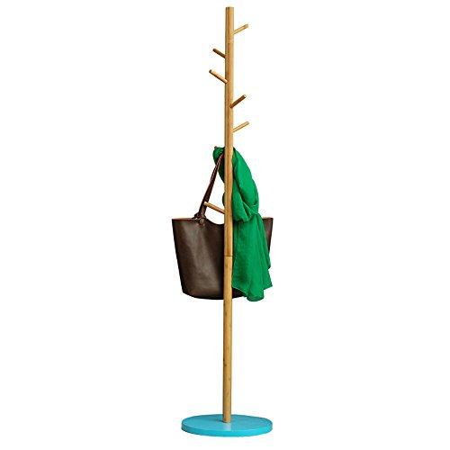 Xiaolin Simple Cintre étage-Debout Manteau Rack Chambre Unique Pôle Cintre Usage à la Maison en Bois Massif Vêtements Rack Espace Économie en Option Couleur (Couleur : Bleu)