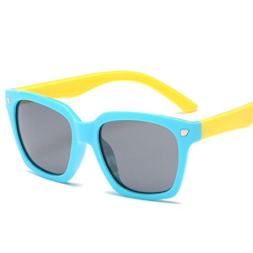 Easy Go Shopping Kids Kleinkinder Jungen und Mädchen Kids Flexible Rubber Sonnenbrille-UV-Schutz und polarisierte Linsen für Sonnenbrillen und Flacher Spiegel (Color : Blau, Size : Kostenlos)