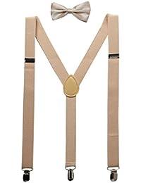sourcingmap® Unisex Bow Tie Set Y Shape Adjustable Elastic Shoulder Strap Suspenders