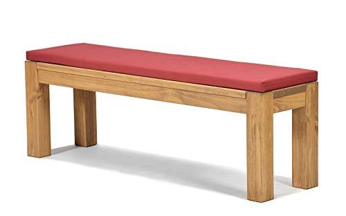 Sitzbank Rio Bonito 160x38cm + Bankauflage bordeaux, Holzbank Massivholz Pinie, geölt und gewachst, Farbton Honig hell, Optional: passende Tische