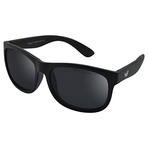 WHCREAT Kinder Polarisierte Sonnenbrille Flexibel Gummirahmen für Mädchen Jungen Alter 3-10 - Matt-schwarz Rahmen Schwarz Linse