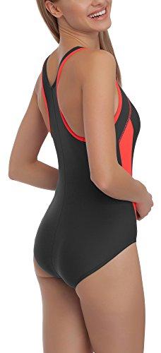 aQuarilla Damen Schwimmanzug AQ71 Graphit/Rot