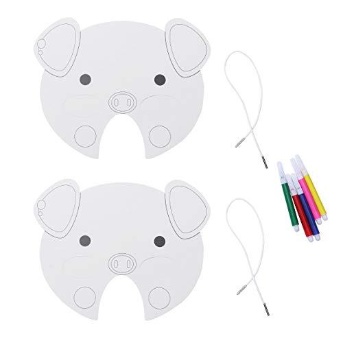 Happyyami 10 stücke DIY Papier Maske mit tierform weiß malerei Masken Handwerk Spielzeug für Kinder Kinder mit 5 stücke - Toy Maker Kostüm