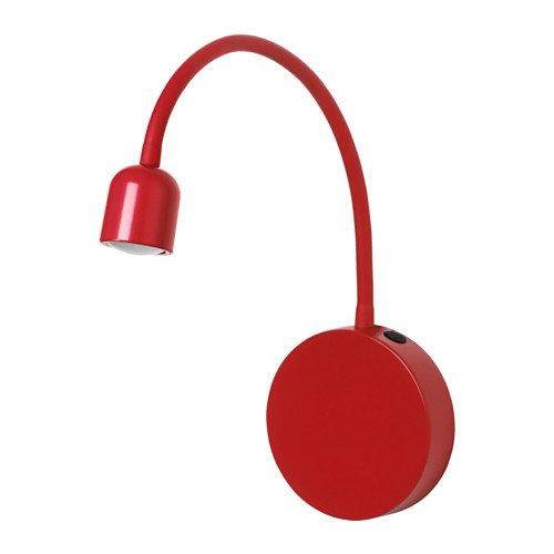 "IKEA LED-Wandleuchte \""BLAVIK\"" in leuchtend Rot, Feuchtraumgeeignet"