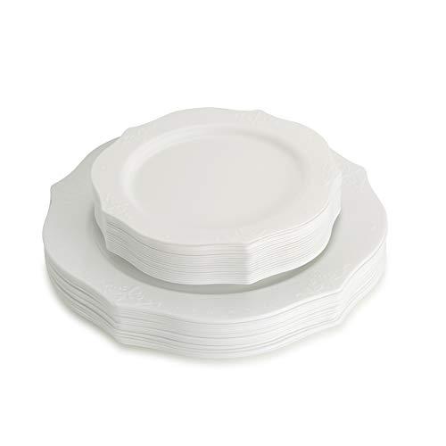 Posh Einstellung Antik Sammlung Combo Pack China Look weiß Kunststoff Teller, (inkl. 420Stück Teller, 4025,4cm Speisetellern und 4017,8cm Salat Teller), Fancy Einweg Geschirr White, Antike Dessert