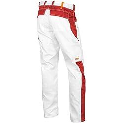 strongAnt Pantalon de Peintre, Les plâtriers Pantalon de Travail Poches pour genouillères, Fermeture éclair YKK + Bouton YKK - Made in EU - 100% Coton 260gm - Kermen Blanc/Rouge 94