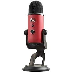 Blue Yeti - Micrófono para ordenador (USB, 16-bit, 48 KHz, 16 ohms, 20 Hz - 20 kHz) rojo satinado