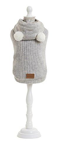 Croci - Forro Acolchado con suéter Peluche para Perros, Color Gris, 20 cm