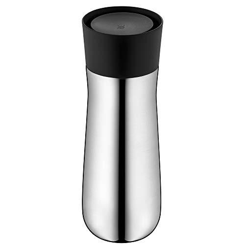 WMF Impulse Isolierbecher 350 ml, Höhe 22 cm, Thermobecher mit Automatikverschluss, 360°-Trinköffnung, hält Getränke 8h heiß/12h kalt, silber