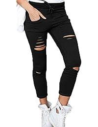 WOZNLOYE Damen Hosen Freizeit Einfarbig Neun Punkte Hose mit Bandagen Mode  Gebrochenes Loch Bleistift Pants Skinny 5a1d0afa15