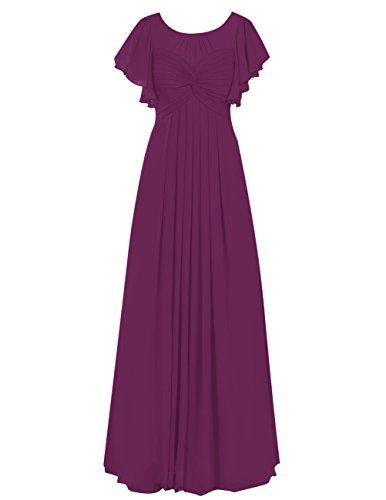 Dresstells Robe de demoiselle d'honneur Robe de cérémonie en mousseline forme empire longueur ras du sol Raisin
