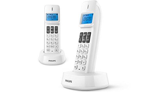Philips D1412W Duo - Teléfonos inalámbricos con altavoz, identificación de llamadas entrantes, configuración fácil, sonido puro y claro, color blanco