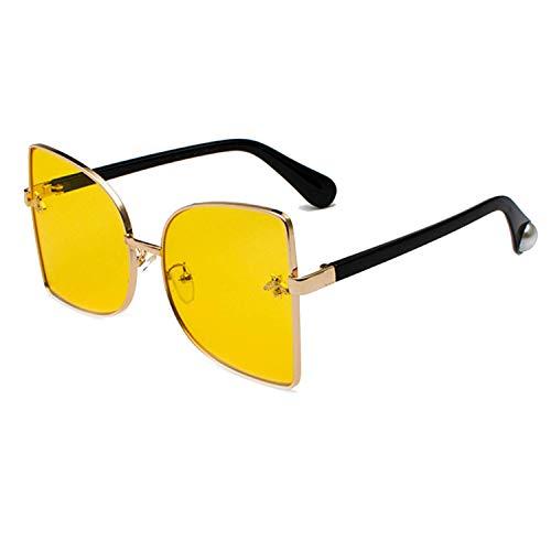 Sport-Sonnenbrillen, Vintage Sonnenbrillen, Retro Cat Eye Sunglasses Women Gold Bee Metal Frame Oversized Sun Glasses Fashion Shades For Women