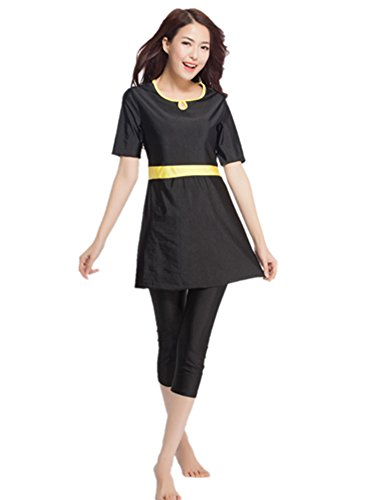 aux femmes à manches courtes pour musulmane islamique Burkini Modeste maillots de bain Lady Maillot de bain, noir