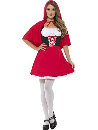 Luxuspiraten - Damen Frauen Rotkäppchen Kostüm mit kurzem Kleid mit Kapuze, perfekt für Karneval, Fasching und Fastnacht, M, ()