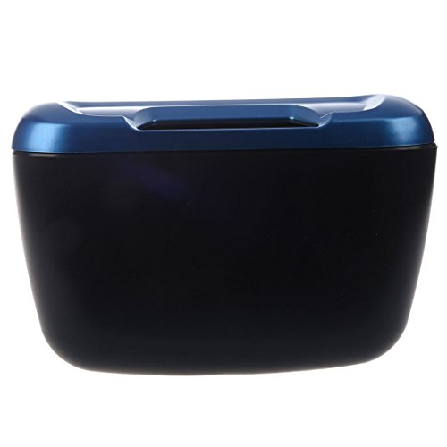 SODIAL(R) Cubo de basura plastico azul negro de coche vehiculo Caja Contenedor de basura con Gancho