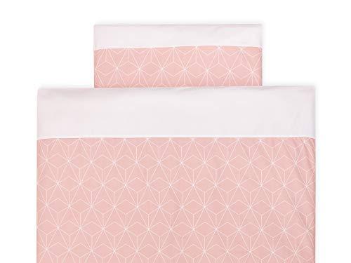 Diamante Decke (KraftKids Bettwäsche-Set weiße dünne Diamante auf Altrosa aus Kopfkissen 40 x 60 cm und Bettdecke 135 x 100 cm, Bettbezug aus Baumwolle, handgearbeitete Bettwäsche gefertigt in der EU)