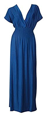 Mia Suri Long Casual Ladies Maxi Summer Holiday Short Sleeved Kimono Beach Sun Dress Elastic Waist